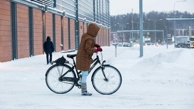 Talvipyöräilyä