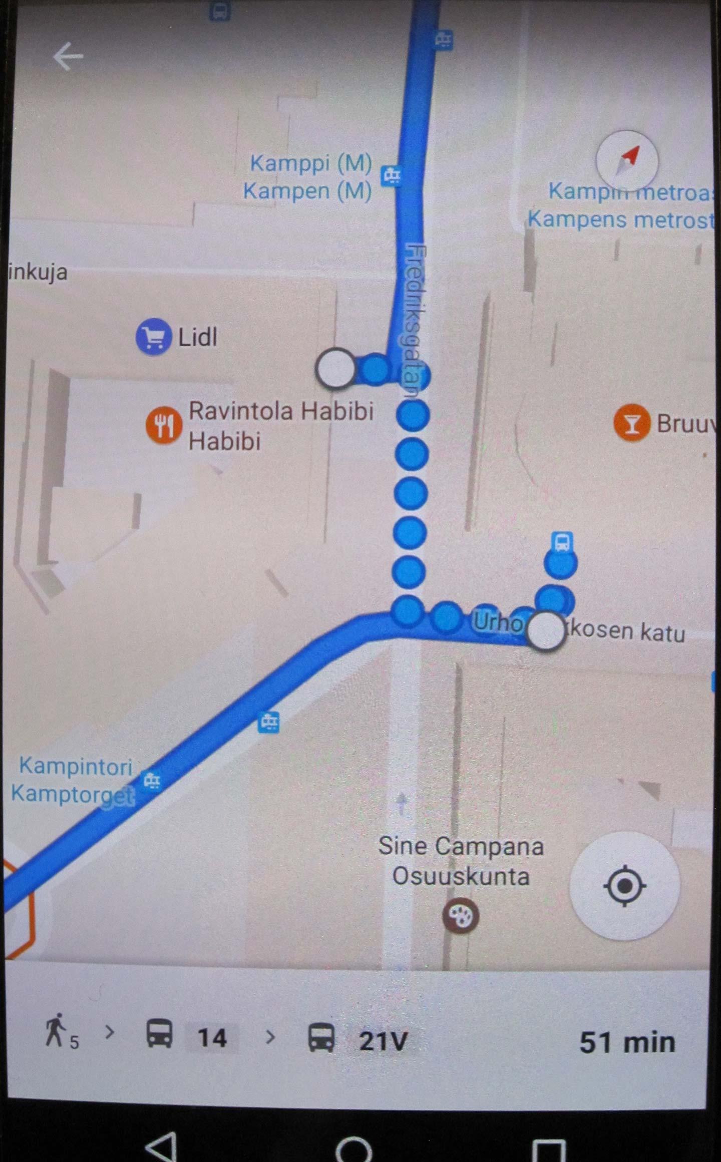 Google Maps Joukkoliikenteen Reittioppaana