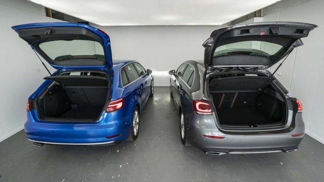 Parivertailu: Audi A3 ja Mercedes-Benz A studiolamppujen alla