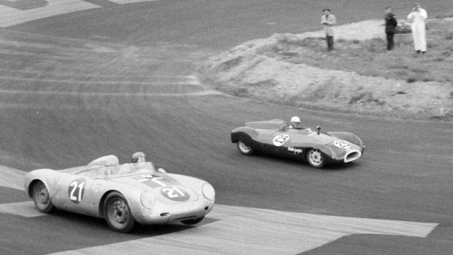 Julius Voigt-Neilsen in 550A-0121 chases Ian Raby in his Cooper Climax at Roskilde, Denmark in September of 1957.