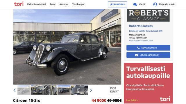 Tori.fi - Citroën Traction Avant 15/6 H