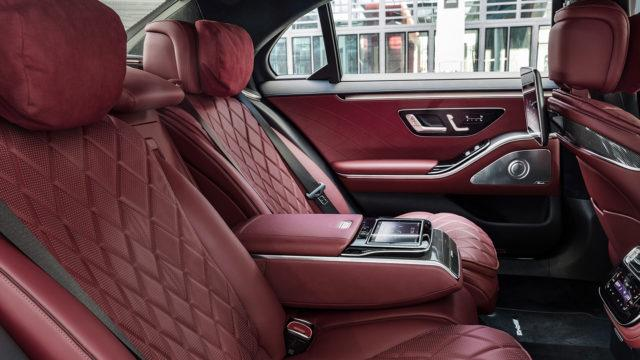 Mercedes-Benz S-Class, 2020, outdoor, interior: leather nappa black/carmin red