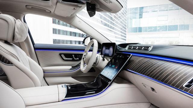 Mercedes-Benz S-Class, plug-in hybrid, 2020, outdoor, interior: leather nappa macchiato beige/magma grey