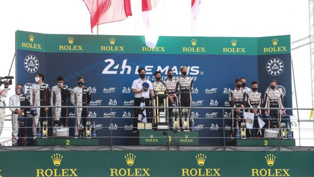 TOYOTA GAZOO Racing. Le Mans 24 Hours World Endurance Championship 16th to 20th September 2020 Le Mans, France Sebastien Buemi (SUI) Brendon Hartley (NZL) Kazuki Nakajima (JPN) Mike Conway (GBR) Jose Maria Lopez (ARG) Kamui Kobayashi (JPN) celebrate on the podium and in parc ferme.